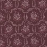 Moda Ville Fleurie by French General - 4741 - Honfleur, Lavender Floral on Burgundy  - 13763 15 - Cotton Fabric